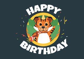 Tigre animale di buon compleanno vettore