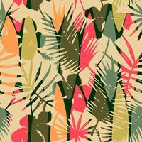 Modello senza cuciture astratto con foglie tropicali. Modello vettoriale