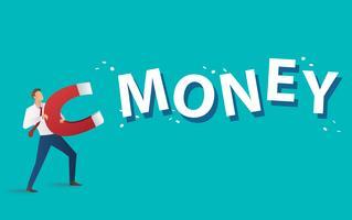 concetto di business. uomo d'affari che attira il testo dei soldi con una grande illustrazione di vettore del magnete