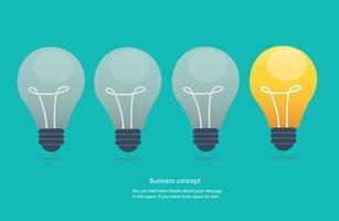 concetto di idea creativa, illustrazione di vettore dell'icona di lampadine