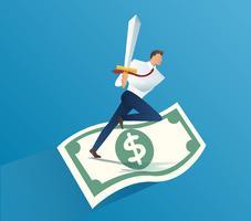 uomo d'affari che tiene la spada sulle fatture di soldi. illustrazione di vettore di concetto di affari