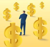 uomo d'affari che sta con l'icona del dollaro, concetto di affari dell'illustrazione di vettore di valuta