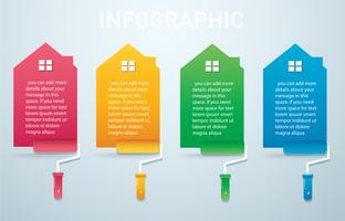 casa colorata con un rullo di vernice Infografica 4 opzioni sfondo illustrazione vettoriale