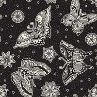 Modello senza cuciture di farfalle e fiori flash flash tradizionale stile vintage