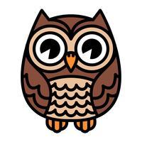 Simpatico cartone animato Owl Bird con grandi occhi in posizione seduta vettore