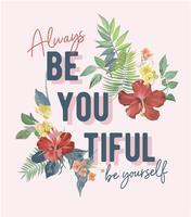 slogan con illustrazione di decorazione floreale