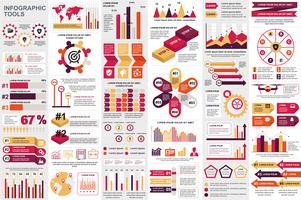 Modello di progettazione di vettore di visualizzazione di dati degli elementi di Infographic. Può essere utilizzato per passaggi, opzioni, processi aziendali, flusso di lavoro, diagramma, concetto di diagramma di flusso, cronologia, icone di marketing, gr