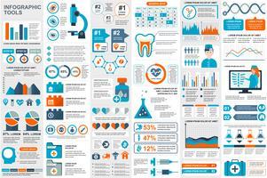 Modello di progettazione di vettore di elementi di infografica medica visualizzazione dati. Può essere utilizzato per passaggi, opzioni, flusso di lavoro, diagramma, concetto di diagramma di flusso, cronologia, icone sanitarie, ricerca, informazioni grafi