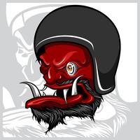 Vettore del disegno della mano del diavolo che indossa il casco del motociclo