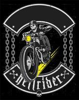 Passi il disegno del motociclo d'annata di guida del cranio -