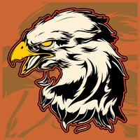 Testa grafica di un'illustrazione calva di Eagle Mascot Vector