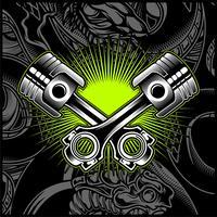 Emblema in bianco e nero del pistone del motociclo trasversale, loghi, distintivo - vettore