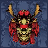 vettore del disegno della mano del samurai del cranio