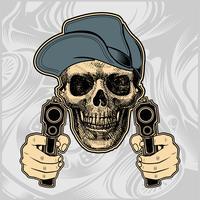 cranio che indossa il cappuccio maneggiando il vettore di pistola