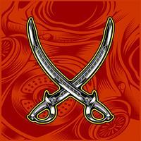 vettore di disegno a mano spada incrociata