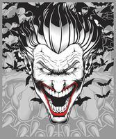 lucifero, diavolo, demone, joker disegno a mano vettoriale