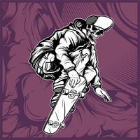vettore di disegno della mano di skateboard teschio