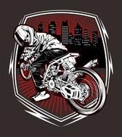 vettore del disegno della mano di corsa del motociclo del cranio