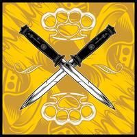 vettore di disegno a mano di croce pugnale