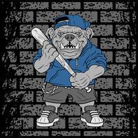 Il giocatore di baseball feroce del bulldog dell'illustrazione di vettore colpisce una palla - vettore