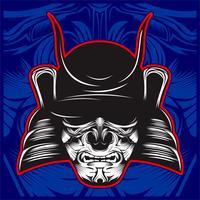 Illustrazione del cranio del samurai - vettore