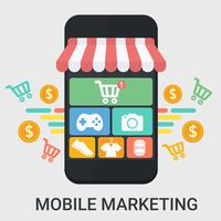 Marketing mobile in un design piatto vettore