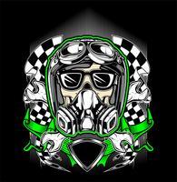 casco cranio racing con maschera antigas-vettoriale