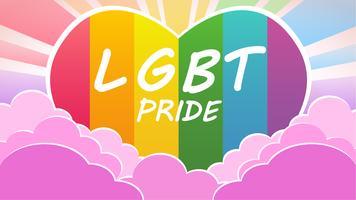 Lgbt orgoglio colorato cielo con nuvole e sole cuore vettore