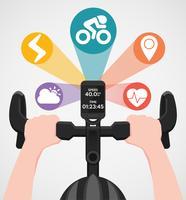Computer per bici e GPS per tenere una posizione sul manubrio vettore