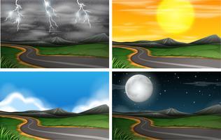 Set di scene della natura vettore