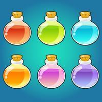 Bottiglie di pozioni magiche impostate vettore