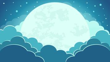 Colorato dello sfondo del cielo notturno con nuvole e chiaro di luna