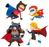 Set di diversi super eroi vettore