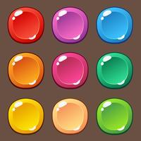 Cartone animato pulsante set gioco, elemento GUI per il gioco mobile vettore