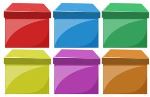 Set di scatole colorate vettore