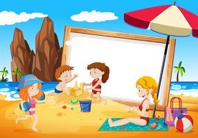 famiglie sulla cornice della spiaggia