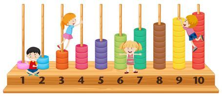 Bambini su abaco colorato