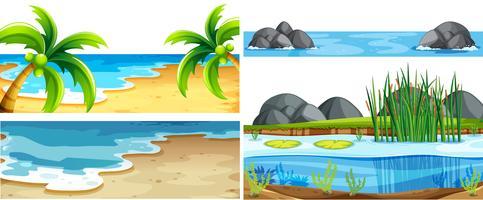 Set di diverse scene della natura vettore