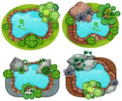 Set di vista aerea del giardino vettore