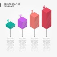 Modello di vettore barra degli elementi infografica 3D piana