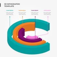 Modello di vettore di elementi di infografica 3D piatto cerchio