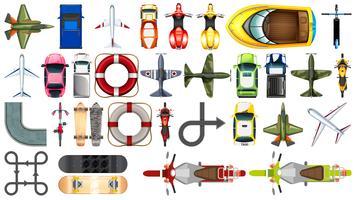 Set di vista aerea di trasporto