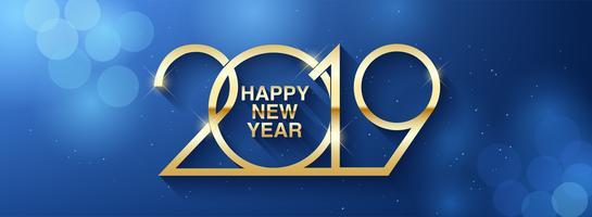 Felice anno nuovo 2019 design del testo vettore