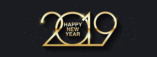 Felice anno nuovo 2019 design del testo. vettore