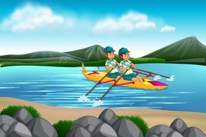 Uomo che guida la canoa nel lago vettore