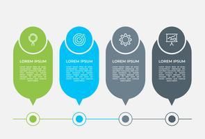 Infografica aziendale. Diagramma con 4 passaggi, opzioni o processi. Modello di infografica per la presentazione. vettore