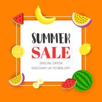 Saldi estivi con frutta tropicale, illustrazione vettoriale