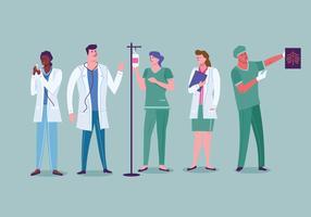 Set di personale medico ospedaliero alle opere vettore