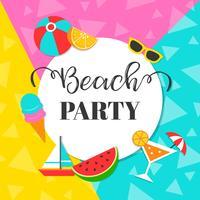 Fondo variopinto del partito della spiaggia di estate, illustrazione di vettore