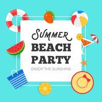 Ora legale, illustrazione di vettore del partito della spiaggia di estate